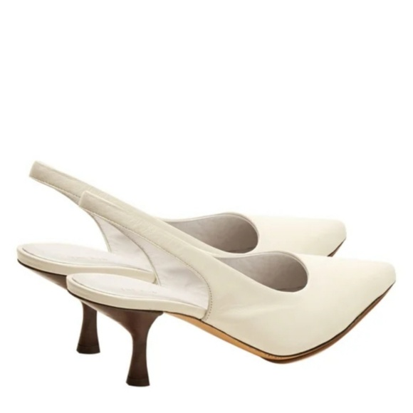 daaab2e70fe The Row s white smooth leather Bourgeoise slingbac